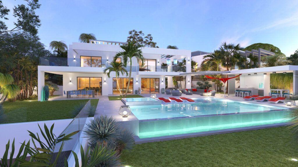 ARFV2147 - Zeitgenössische Villa in Strandlage mit Panoramablick zum Verkauf in Marbesa in Marbella